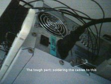 5 cables are soldered to a parallel port jack, and then the jack is plugged in