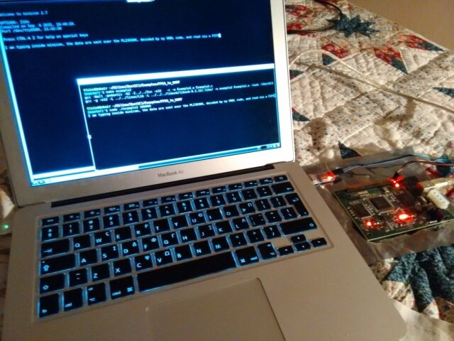 A Spartan3, running my own VHDL serial code